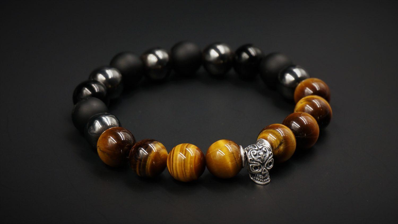 bracelet skull argent oeil de tigre onyx hematite